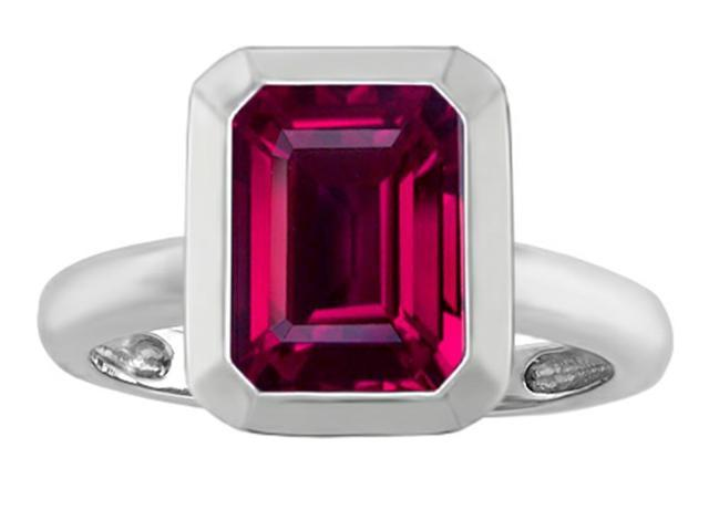 Star K 9x7mm Emerald Cut Octagon Solitaire Ring with Created Ruby in Sterling Silver Size 7