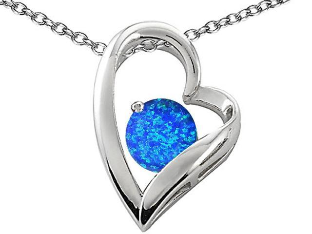 Star K 7mm Round Blue Created Opal Pendant Necklace in Sterling Silver