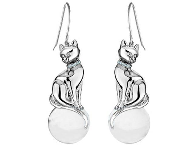 Star K Large Cat Hanging Hook Earrings with 10mm Simulated White Agate Ball in Sterling Silver