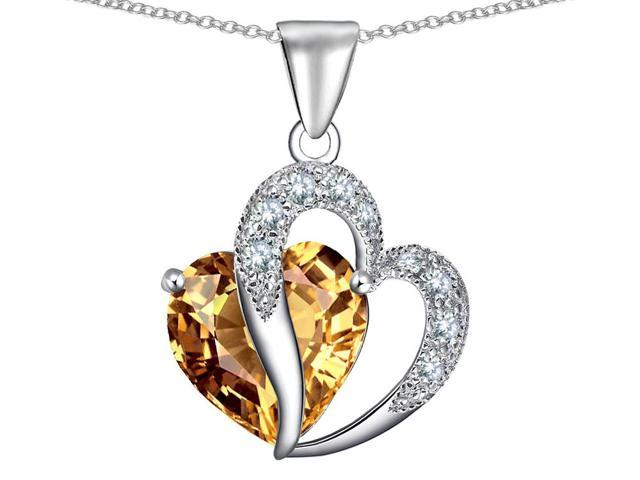 Star K Heart Shape 12mm Simulated Imperial Yellow Topaz Pendant Necklace in Sterling Silver