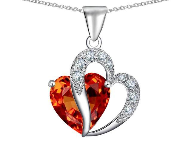Star K Heart Shape 12mm Simulated Mexican Fire Opal Pendant in Sterling Silver
