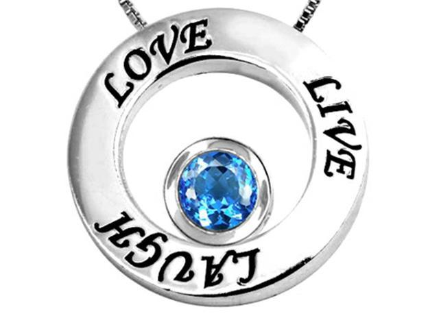 Star K Live/Love/Laugh Circle of Life Pendant Necklace with December Birth Month Round 7mm Simulated Blue Topa