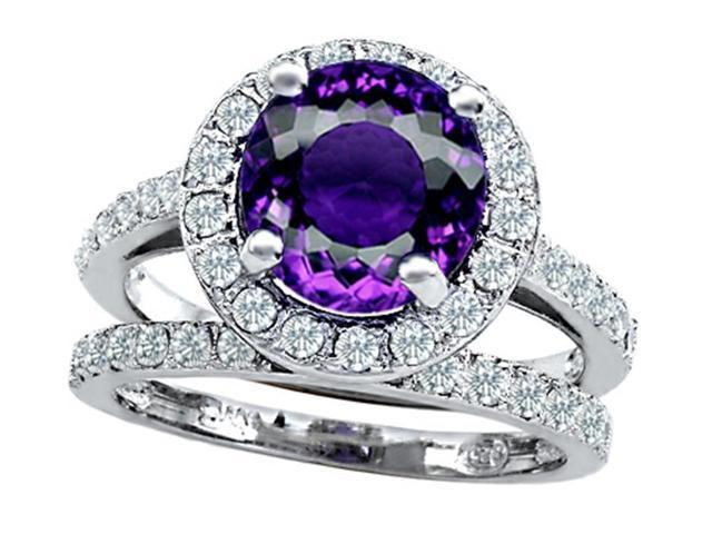 Star K 8mm Round Simulated Amethyst Wedding Set in Sterling Silver Size 7