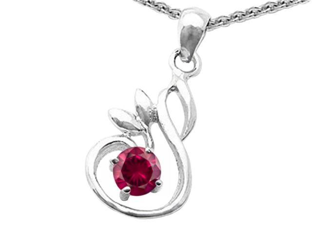 Star K Round Created Ruby Swan Pendant in Sterling Silver
