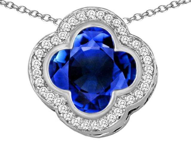 Star K Large Clover Pendant with 12mm Clover Cut Simulated Sapphire in Sterling Silver