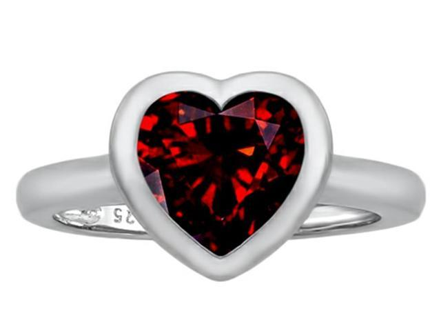 Star K 8mm Heart Shape Solitaire Ring with Simulated Garnet in Sterling Silver Size 5