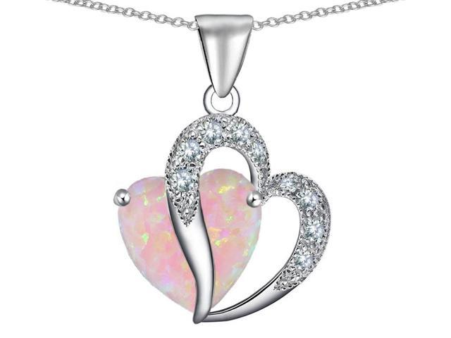 Star K Heart Shape 12mm Pink Created Opal and Cubic Zirconia Pendant Necklace in Sterling Silver