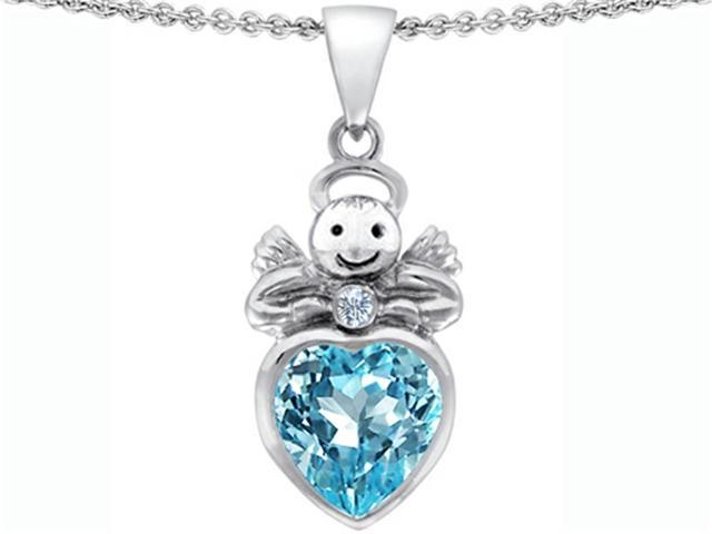 Star K Love Angel Pendant Necklace with 10mm Simulated Aquamarine Heart in Sterling Silver