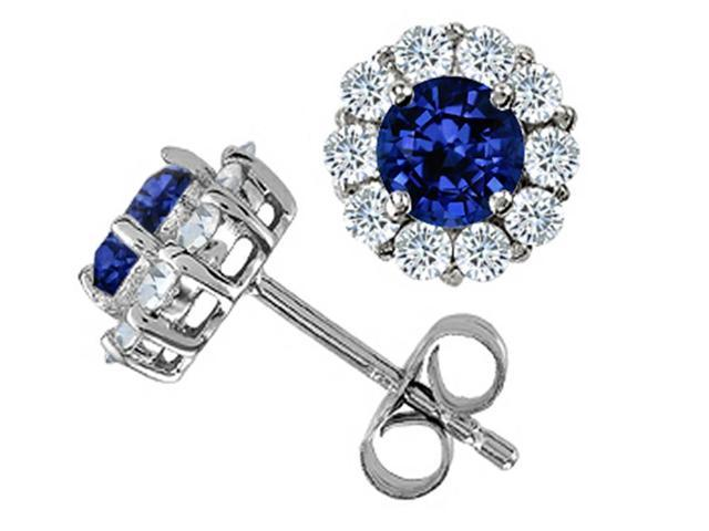 Star K Round Created Sapphire Earrings in Sterling Silver