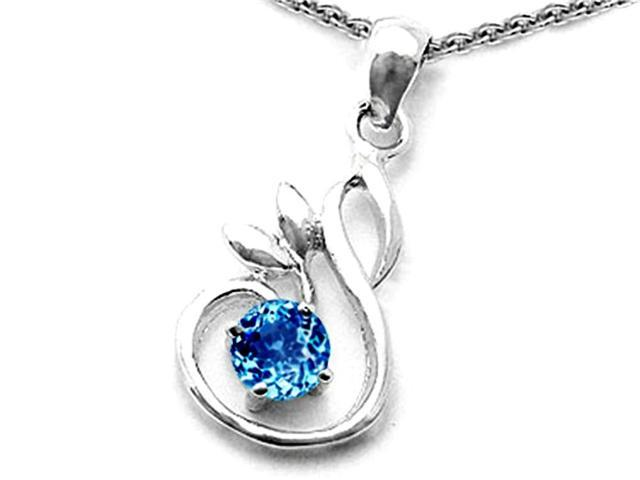 Star K Round Simulated Blue Topaz Swan Pendant in Sterling Silver