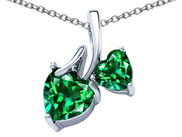 Star K 8mm and 6mm Heart Shape Simulated Emerald Double Hearts Pendant in Sterling Silver
