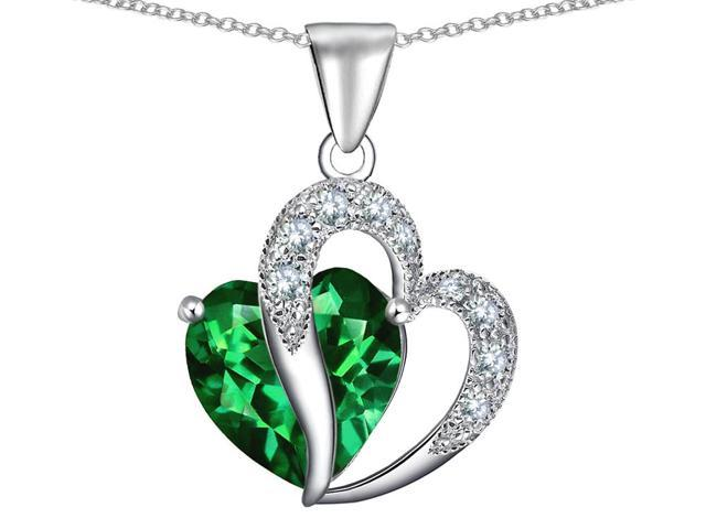 10.30 cttw Original Star K(TM) Heart Shape 12mm Simulated Emerald Pendant