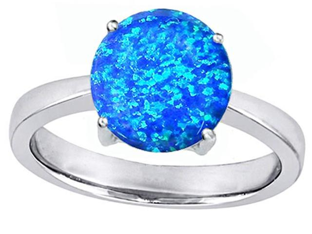 Star K Large Solitaire Big Stone Ring with 10mm Round Simulated Blue Opal in Sterling Silver Size 6