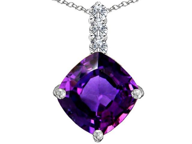 Star K Large 12mm Cushion Cut Simulated Amethyst Pendant Necklace in Sterling Silver