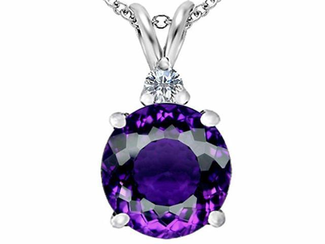 Star K Large 12mm Round Simulated Amethyst Pendant in Sterling Silver