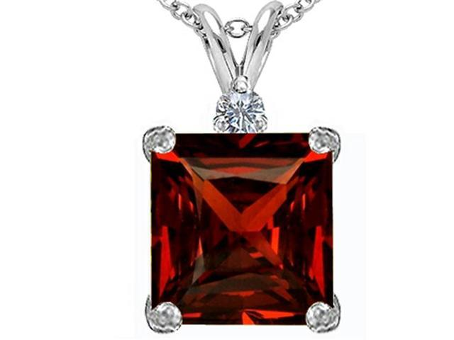 Star K Large 12mm Square Cut Simulated Garnet Pendant in Sterling Silver