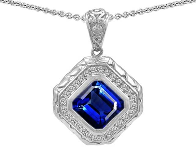 Star K 7mm Cushion Cut Created Sapphire Bali Style Pendant Necklace in Sterling Silver