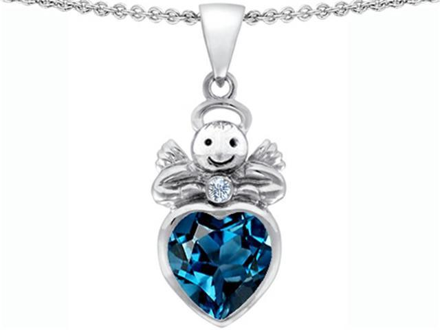Star K Love Angel Pendant with 10mm Simulated Blue Topaz Heart in Sterling Silver