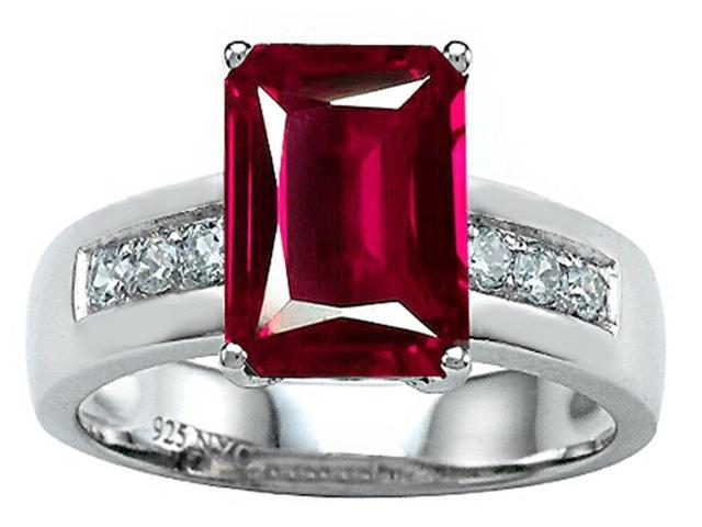 Star K Classic Octagon Emerald Cut 9x7 Ring with Created Ruby in Sterling Silver Size 5