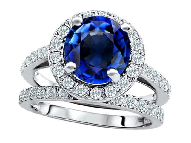 Star K 8mm Round Created Sapphire Wedding Set in Sterling Silver Size 7
