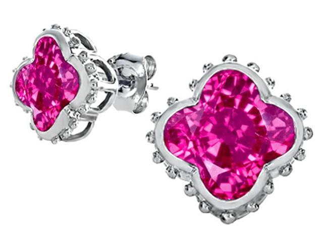 Star K Clover Earrings Studs with 8mm Clover Cut Created Pink Sapphire in Sterling Silver
