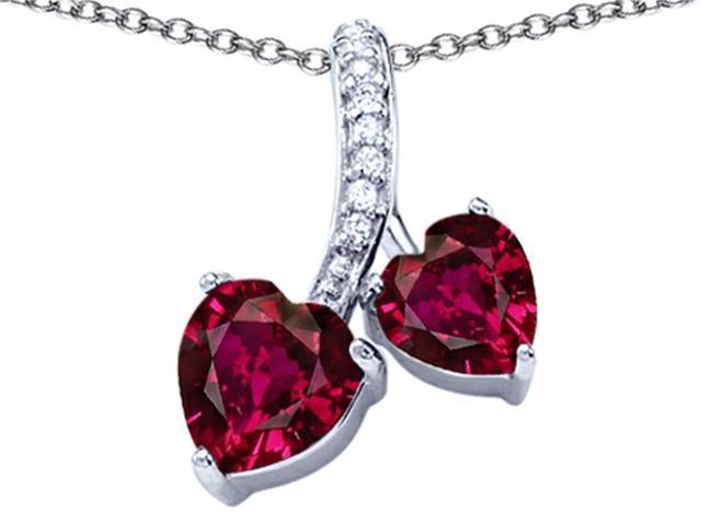 Star K 8mm and 7mm Heart Shape Created Ruby Double Hearts Pendant Necklace in Sterling Silver