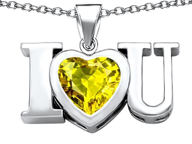 Star K 8mm Heart Shape Simulated Citrine I Love You Heart Pendant in Sterling Silver