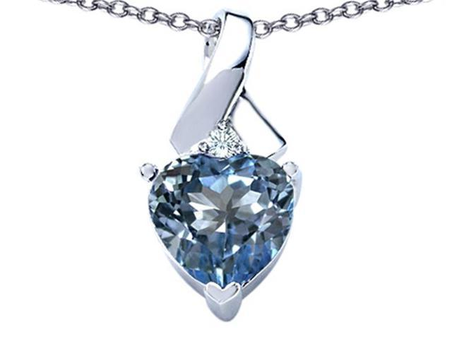 Star K 8mm Heart Shape Simulated Aquamarine Ribbon Pendant Necklace in Sterling Silver