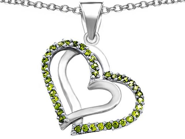 Star K Round Simulated Peridot Double Hearts Pendant Necklace in Sterling Silver