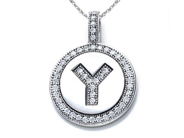 Zoe R Sterling Silver Micro Pave Hand Set Cubic Zirconia CZ Letter Y Initial Disc Pendant Necklace