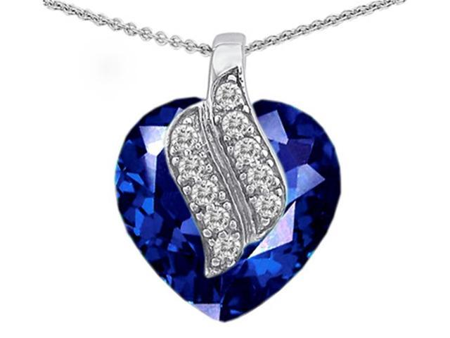 Star K Large 15mm Heart Shaped Created Sapphire Soul Mate Pendant in Sterling Silver