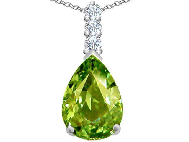 Star K Large 14x10mm Pear Shape Simulated Peridot Pendant in Sterling Silver