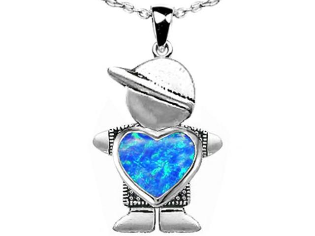 Star K Boy Holding 8mm Mother Heart October Birth Month Pendant with Blue Simulated Opal in Sterling Silver