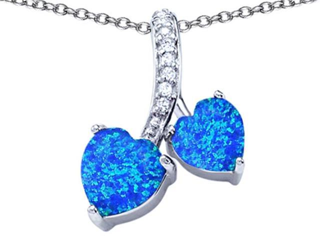 Star K 8mm and 7mm Heart Shape Blue Created Opal and Cubic Zirconia Double Hearts Pendant Necklace in Sterling Silver