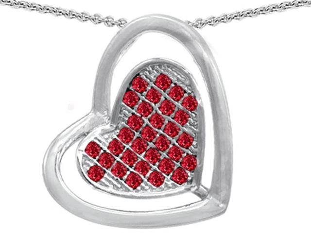 Star K Round Created Ruby Heart Shape Pendant in Sterling Silver