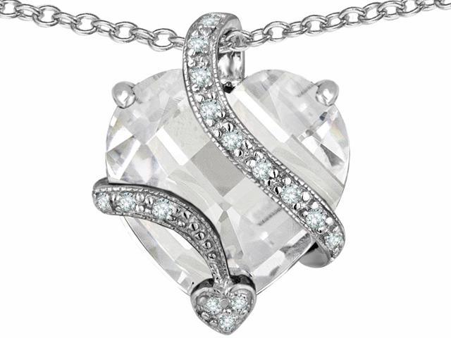 Star K Large 15mm Heart Shape Cubic Zirconia Love Pendant Necklace in Sterling Silver