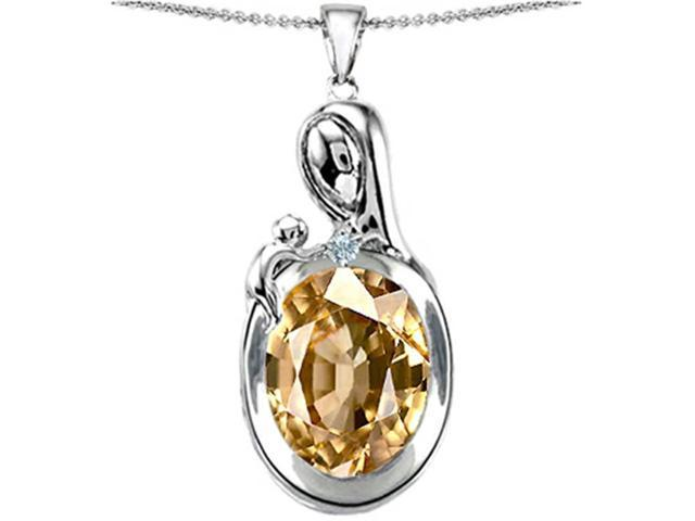 Star K Loving Mother with Child Family Pendant with Oval 11x9mm Simulated Imperial Yellow Topaz in Sterling Silver