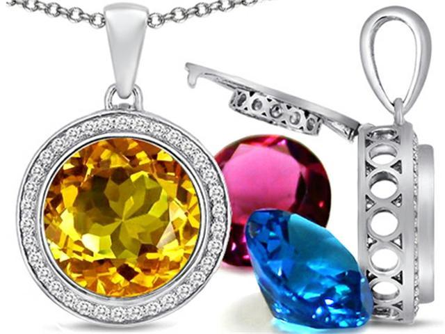 Switch-It Gems Round 12mm Simulated Citrine Pendant Necklace with 12 Interchangeable Simulated Birth Months