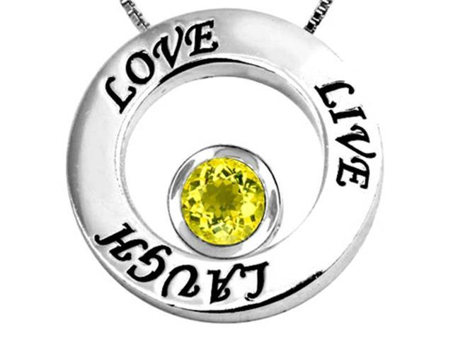 Star K Live/Love/Laugh Circle of Life Pendant Necklace with Round 7mm Simulated Yellow Sapphire in Sterling Silver