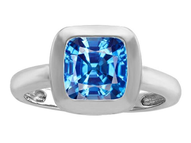 Star K 8mm Cushion Cut Solitaire Ring with Simulated Blue Topaz in Sterling Silver Size 5