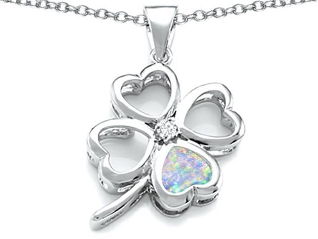 Celtic Love By Kelly Large 7mm Heart Shape Simulated Opal Lucky Clover Heart Pendant in Sterling Silver
