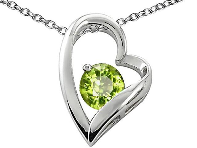 Star K 7mm Round Simulated Peridot Heart Pendant Necklace in Sterling Silver