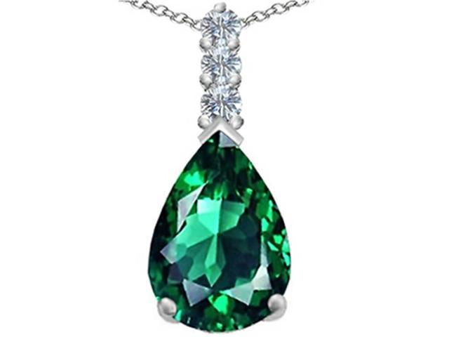 Star K Large 14x10mm Pear Shape Simulated Emerald Pendant in Sterling Silver