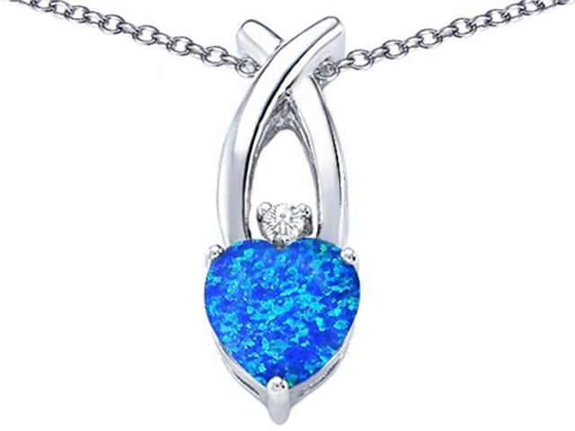 Star K 8mm Heart Shape Simulated Blue Opal Cross Heart Pendant in Sterling Silver