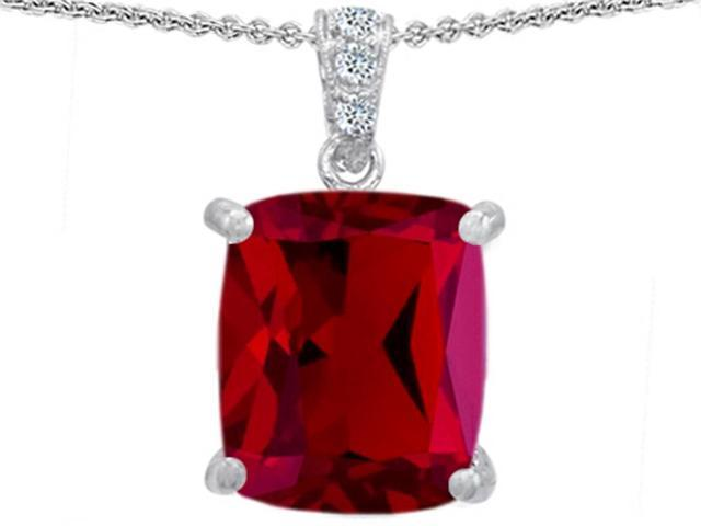 Star K Large 12x10 Cushion Cut Created Ruby Designer Pendant in Sterling Silver