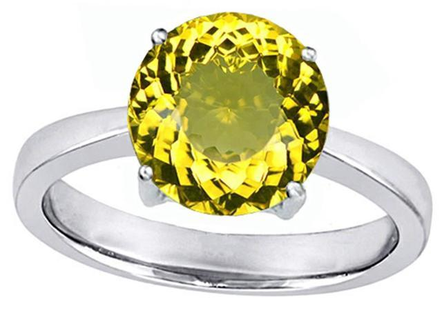 Star K Large Solitaire Big Stone Ring with 10mm Round Simulated Citrine in Sterling Silver Size 6