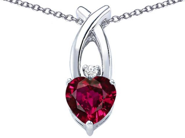 Star K 8mm Heart Shape Created Ruby Cross Heart Pendant Necklace in Sterling Silver
