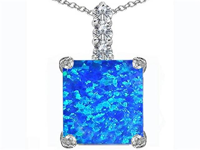 Star K Large 12mm Square Cut Blue Simulated Opal Pendant in Sterling Silver