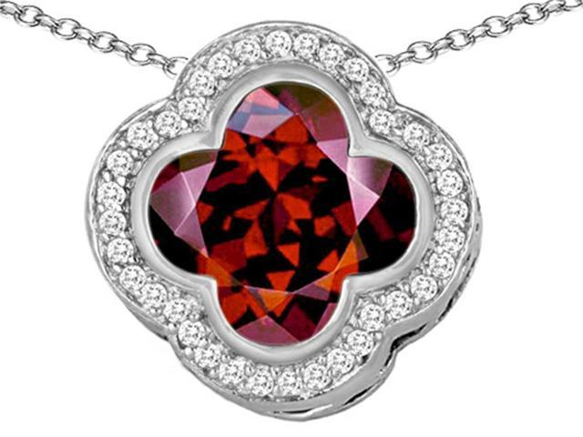 Star K Large Clover Pendant Necklace with 12mm Clover Cut Simulated Garnet in Sterling Silver