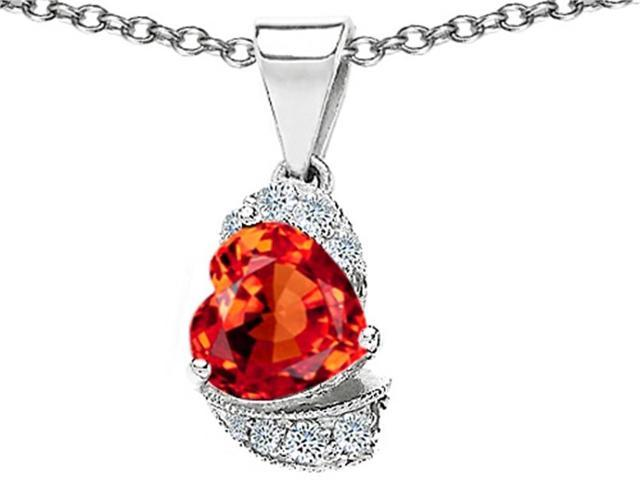 Star K Heart Shape 8mm Simulated Orange Mexican Fire Opal Love Pendant in Sterling Silver
